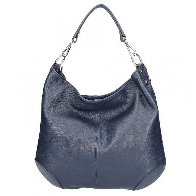 Tmavomodrá kožená kabelka na rameno 204