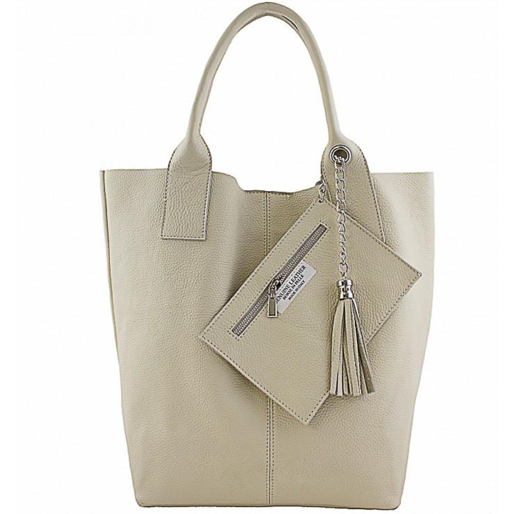 Kožená kabelka na rameno 1109 béžová Made in Italy