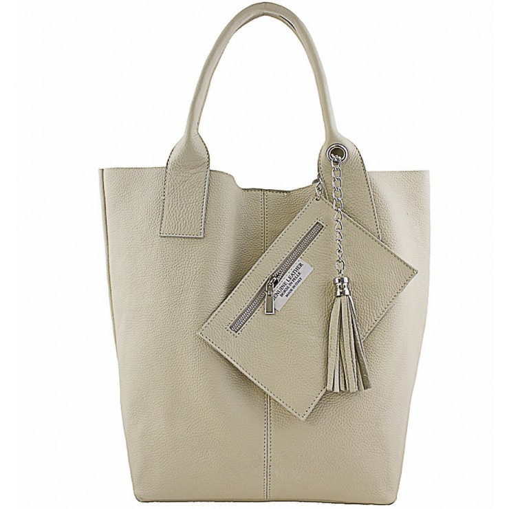 Leather Maxi Bag 1109 beige Made in Italy