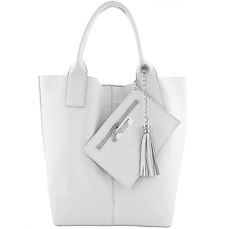 Leather Maxi Bag 1109 white Made in Italy