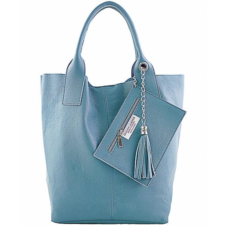 Kožená kabelka na rameno 1109 nebesky modrá Made in Italy