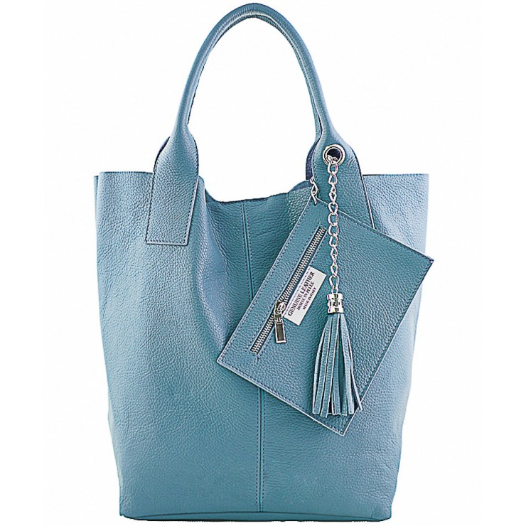 Leather Maxi Bag 1109 light blue Made in Italy