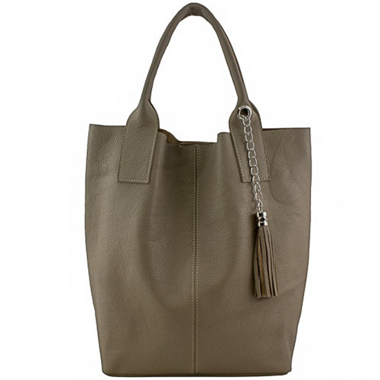 Leather Maxi Bag 1109 dark taupe Made in Italy