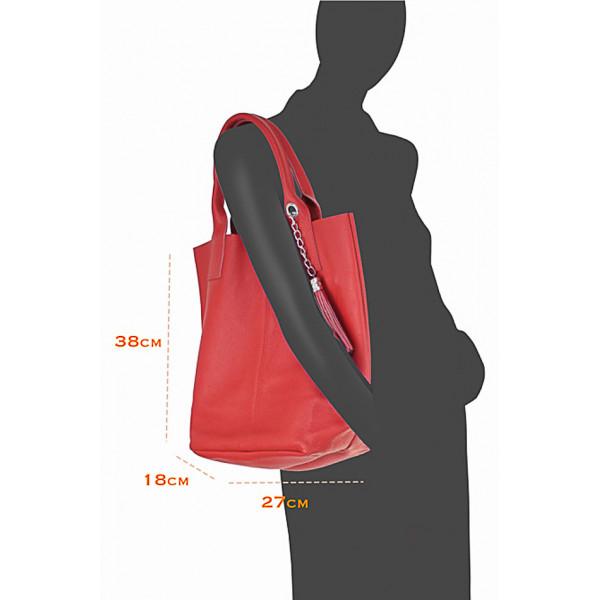 Kožená kabelka na rameno 1109 tmavá šedohnedá Made in Italy