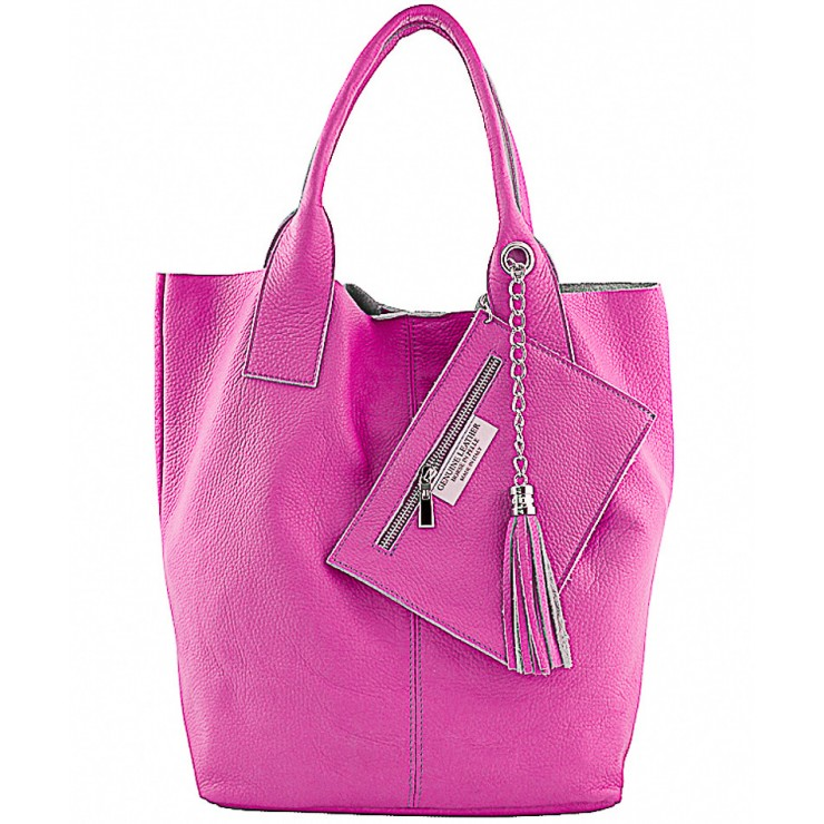 Leather Maxi Bag 1109 fuxia Made in Italy