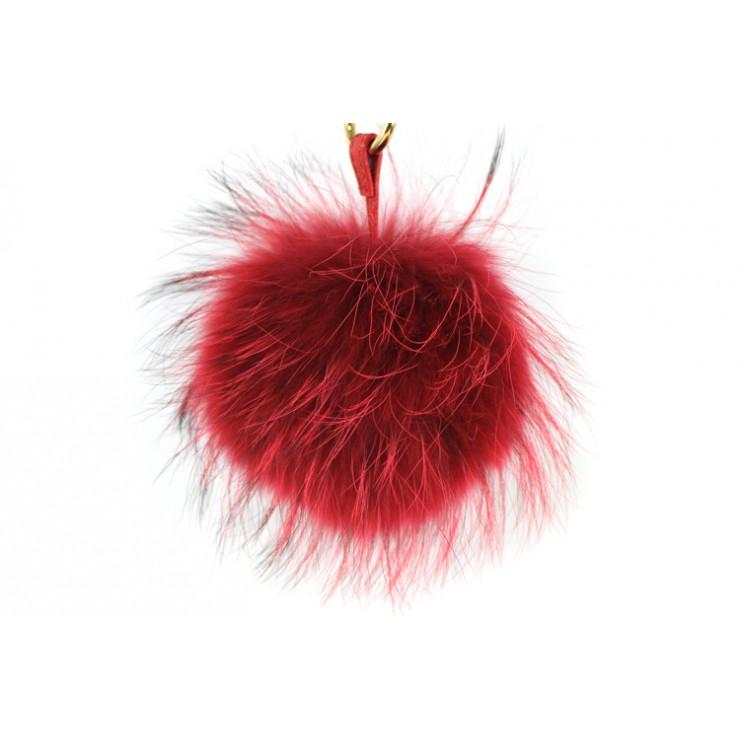 Kožušinový prívesok/kľúčenka Pom Pom červená