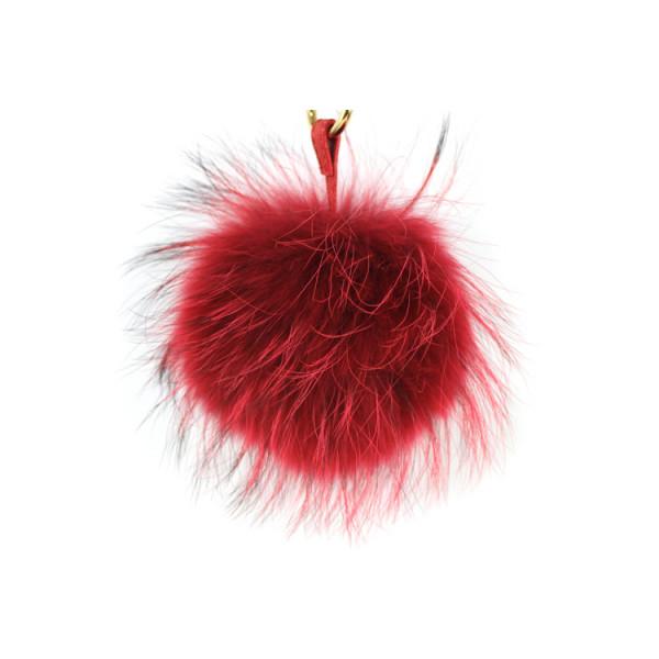 Kožušinový prívesok/kľúčenka Pom Pom červená Červená