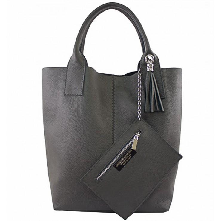Kožená kabelka na rameno 1109 tmavošedá Made in Italy