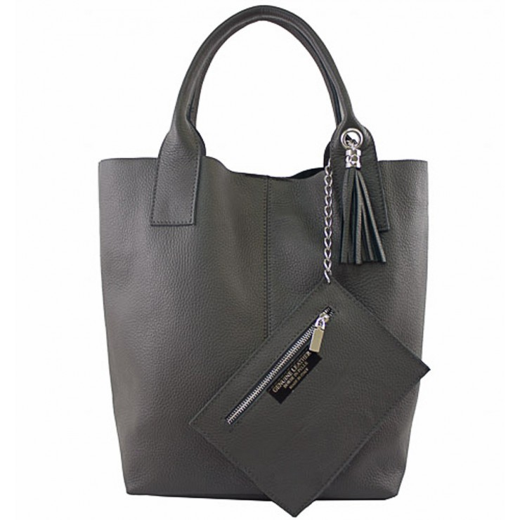 Leather Maxi Bag 1109 dark gray Made in Italy