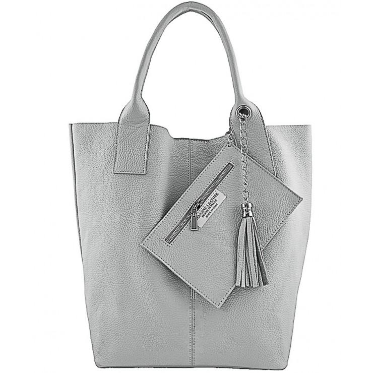 Kožená kabelka na rameno 1109 šedá Made in Italy
