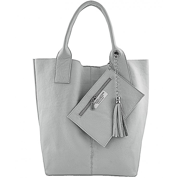 Leather Maxi Bag 1109 gray Made in Italy