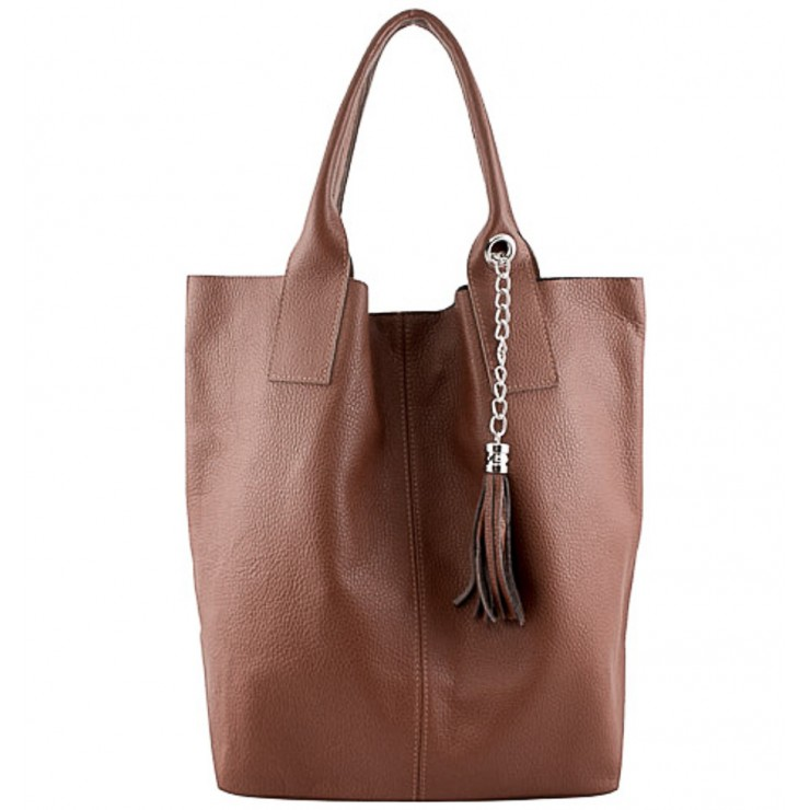 Leather Maxi Bag 1109 brown Made in Italy