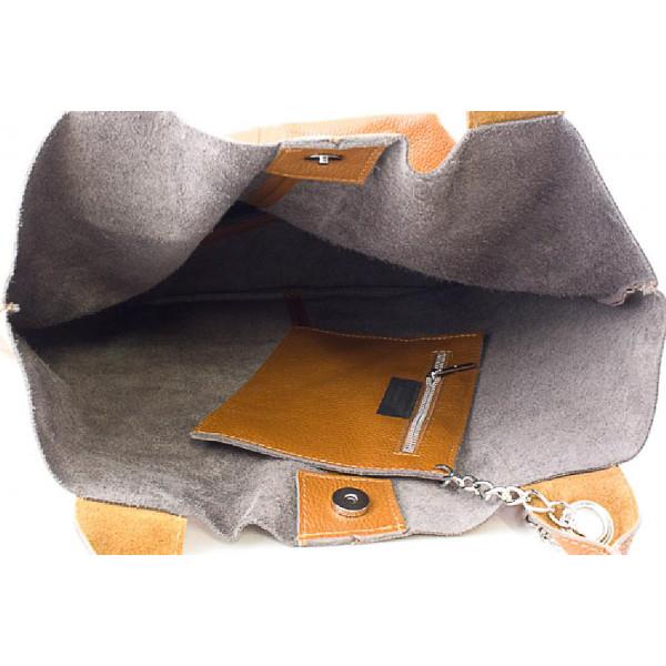 Kožená kabelka na rameno 1109 hnedá Made in Italy