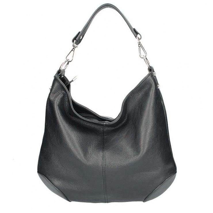 Čierna kožená kabelka na rameno 204