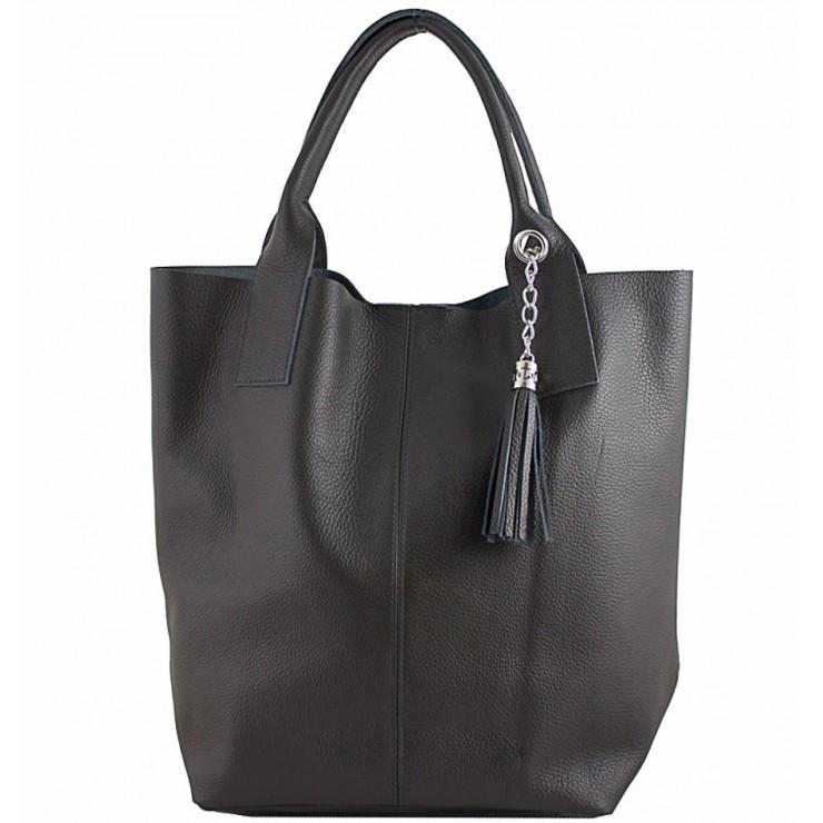 Kožená kabelka na rameno 1109 čierna Made in Italy