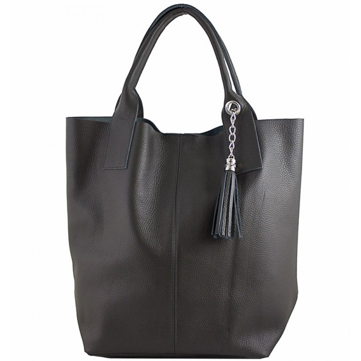 Leather Maxi Bag 1109 black Made in Italy