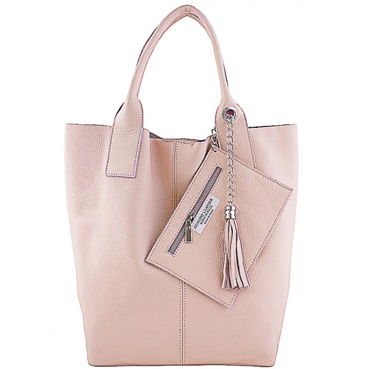 Kožená kabelka na rameno 1109 ružová Made in Italy