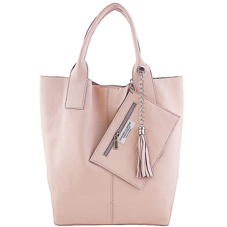 Leather Maxi Bag 1109 pink Made in Italy