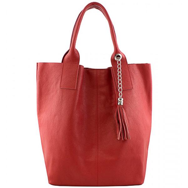 Kožená kabelka na rameno 1109 červená Made in Italy Červená