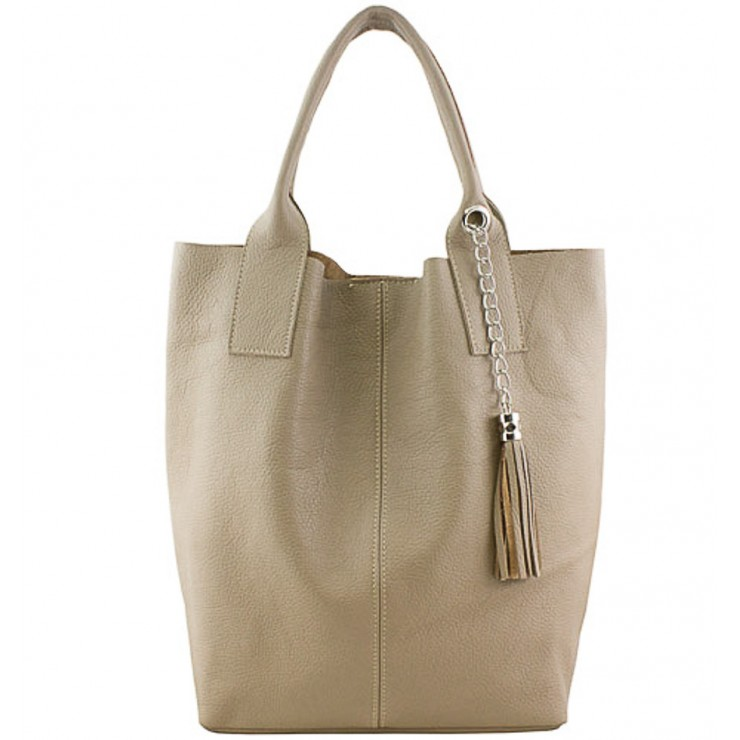Leather Maxi Bag 1109 taupe Made in Italy
