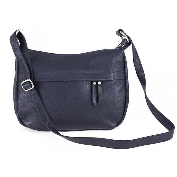 Kožená kabelka na rameno 392 modrá Made in Italy