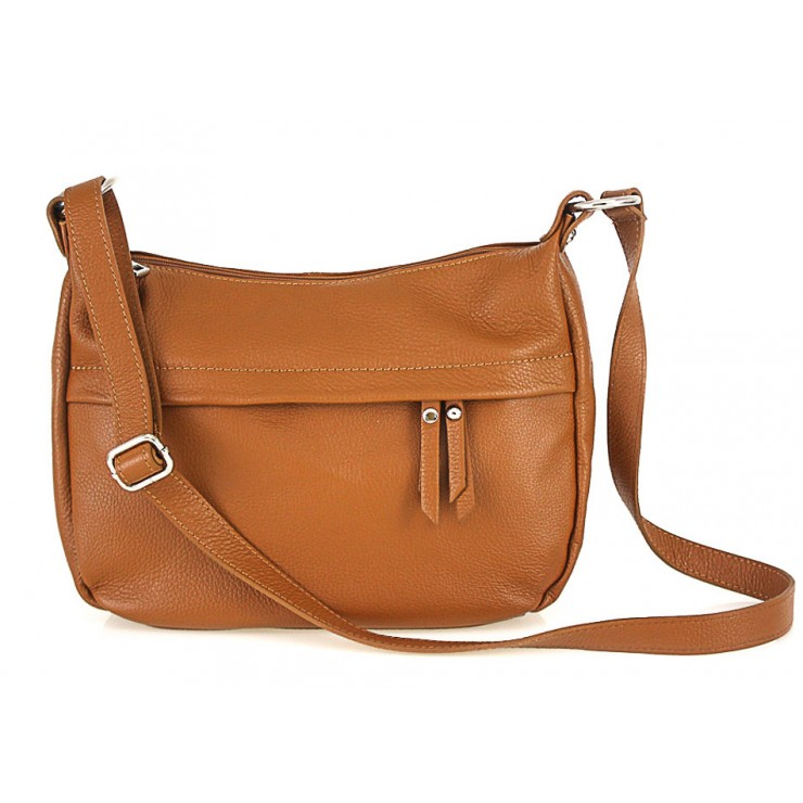 Leather Messenger Bag 392 cognac Made in Italy