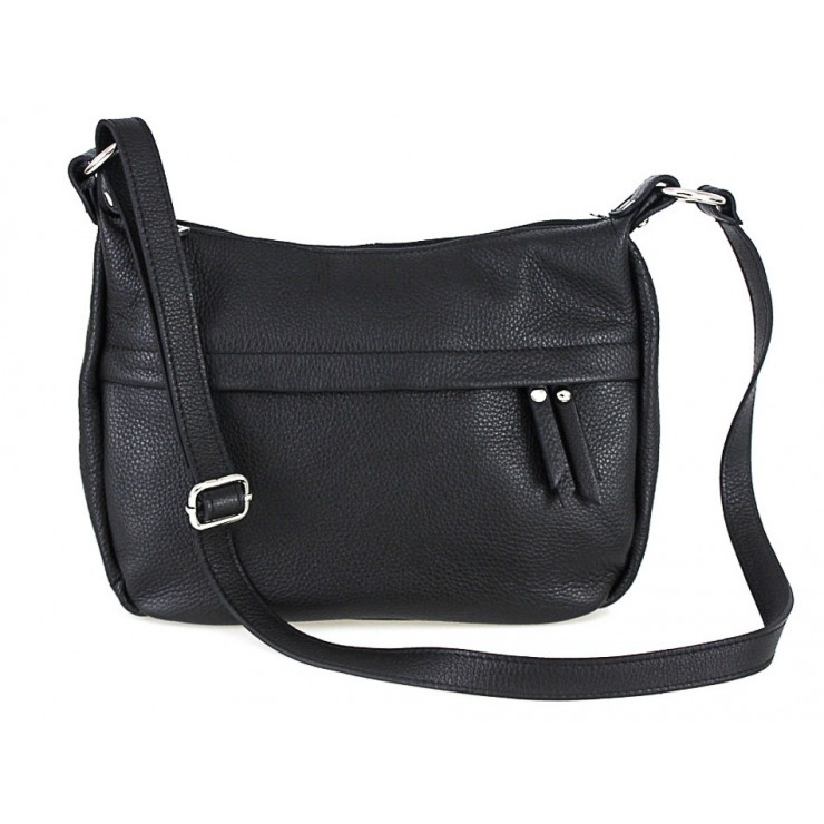 Leather Messenger Bag 392 black Made in Italy