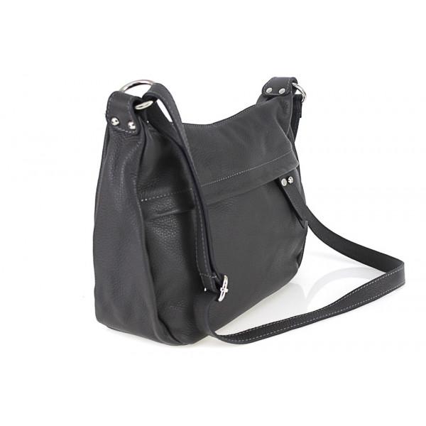 Kožená kabelka na rameno 392 čierna Made in Italy