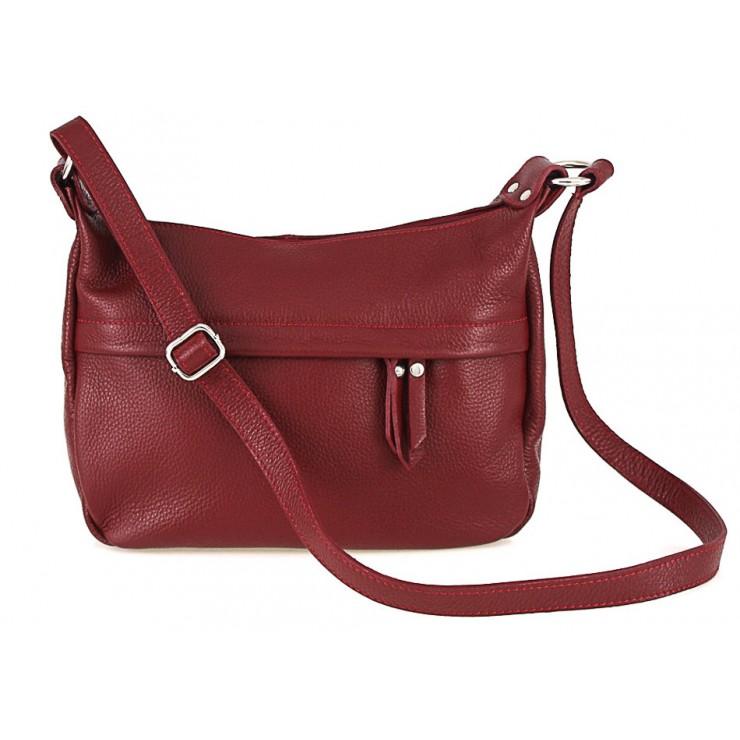 Kožená kabelka na rameno 392 červená Made in Italy