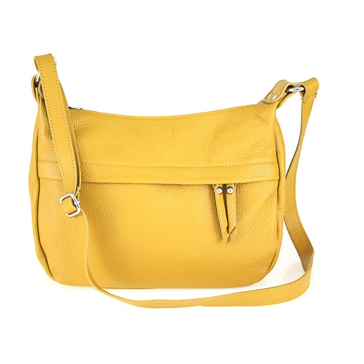 Leather Messenger Bag 392 mustard Made in Italy