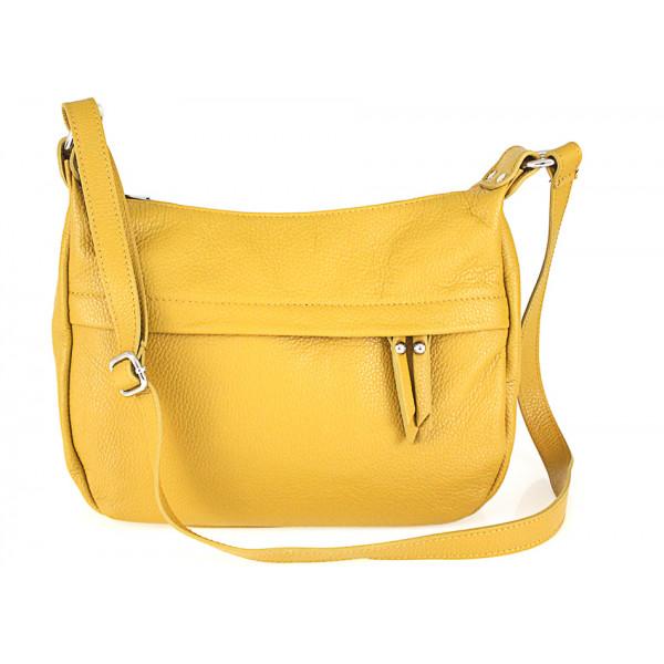 Kožená kabelka na rameno 392 žltá Made in Italy Žltá