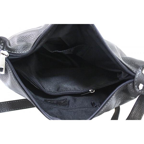 Kožená kabelka na rameno 392 šedohnedá Made in Italy Šedohnedá