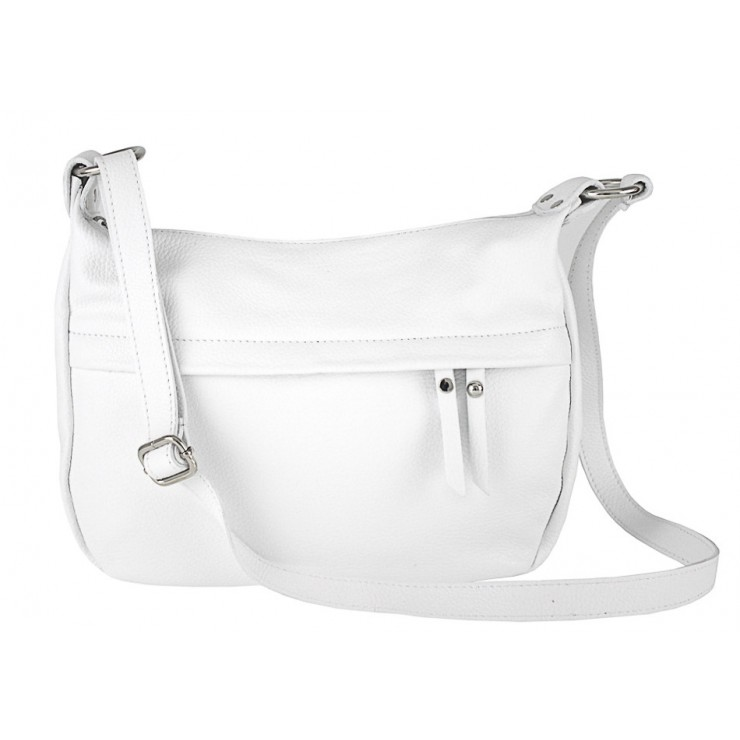 Leather Messenger Bag 392 white Made in Italy