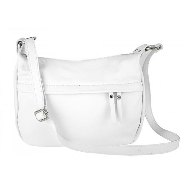Kožená kabelka na rameno 392 biela Made in Italy