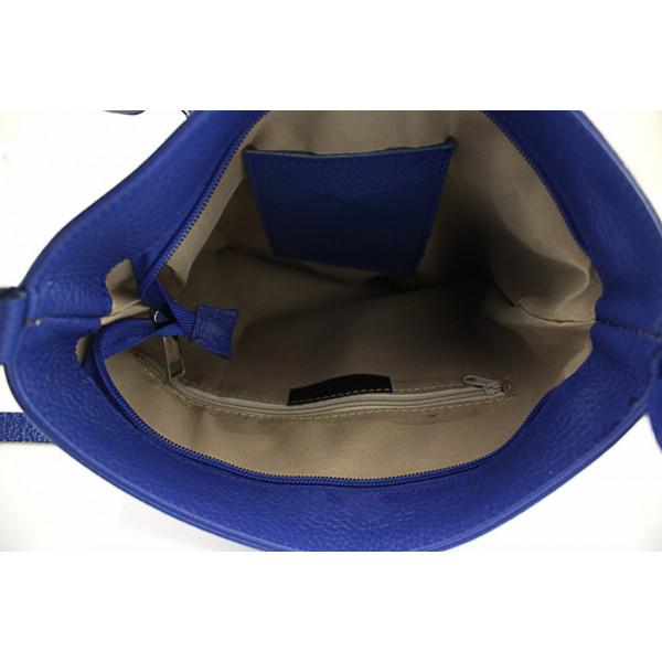 Kožená kabelka na rameno 147 tmavomodrá Made in Italy