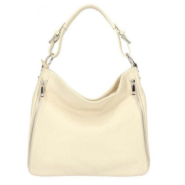 Béžová kožená kabelka na rameno 5310
