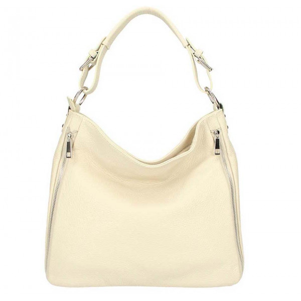 Béžová kožená kabelka na rameno 390 Made in Italy