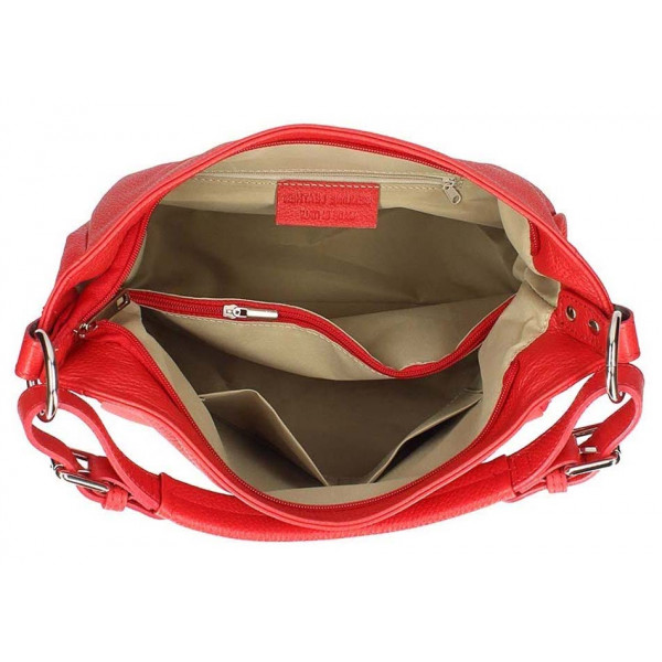 Béžová kožená kabelka na rameno 390 Made in Italy Béžová