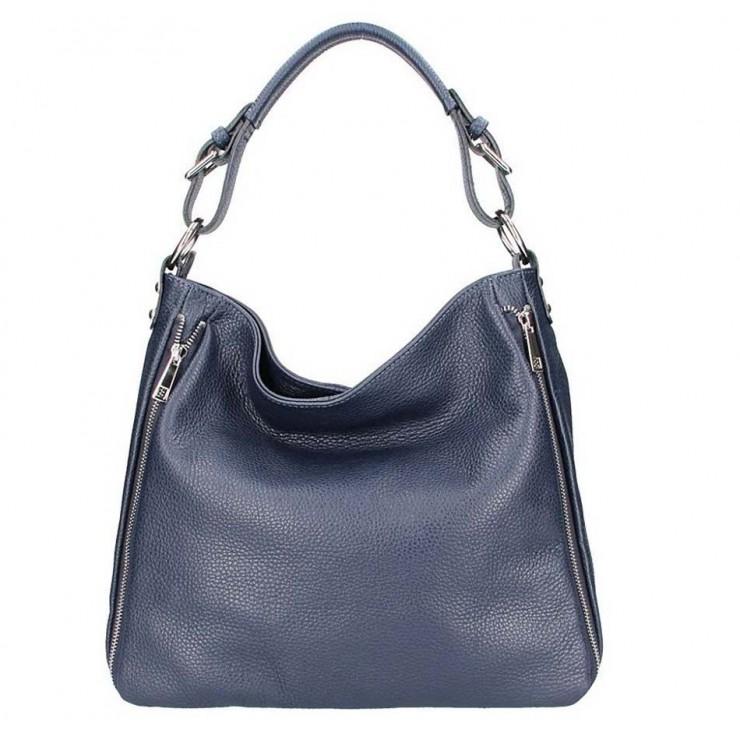 Tmavě modrá kožená kabelka na rameno 390