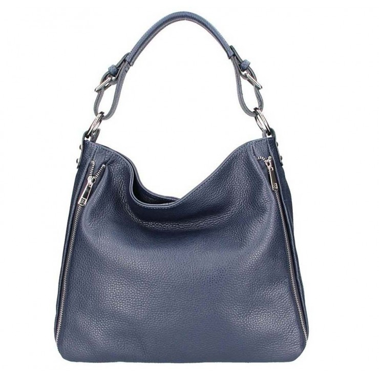 Tmavomodrá kožená kabelka na rameno 5310