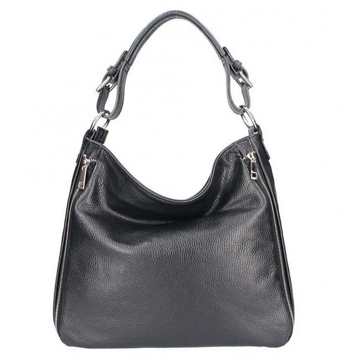 Černá kožená kabelka na rameno 390
