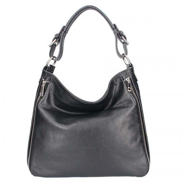 Čierna kožená kabelka na rameno 390 Čierna