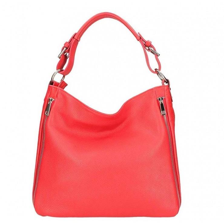 Červená kožená kabelka na rameno 390