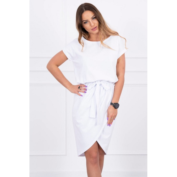 Cotton dress with belt MI8980 white