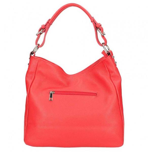Červená kožená kabelka na rameno 390 Červená