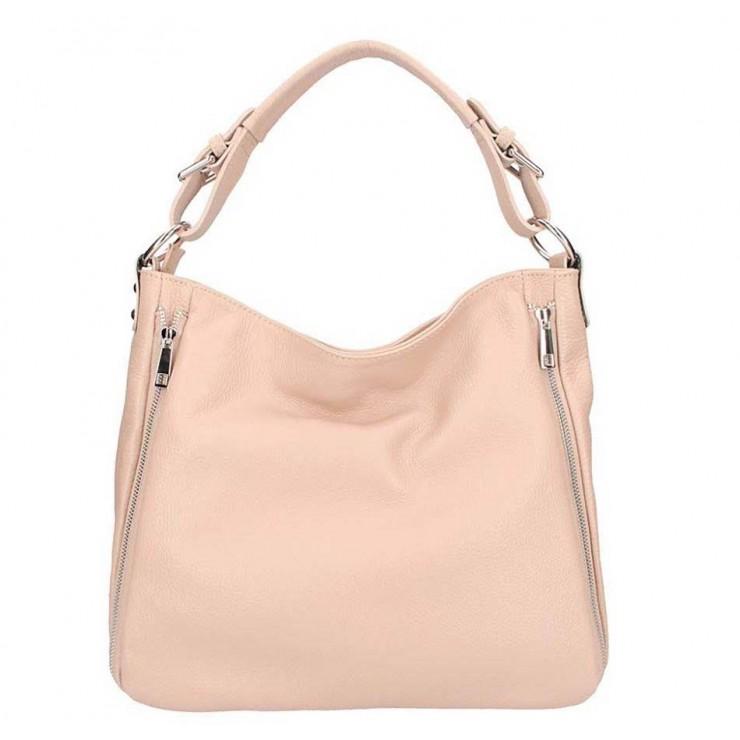 Ružová kožená kabelka na rameno 5310