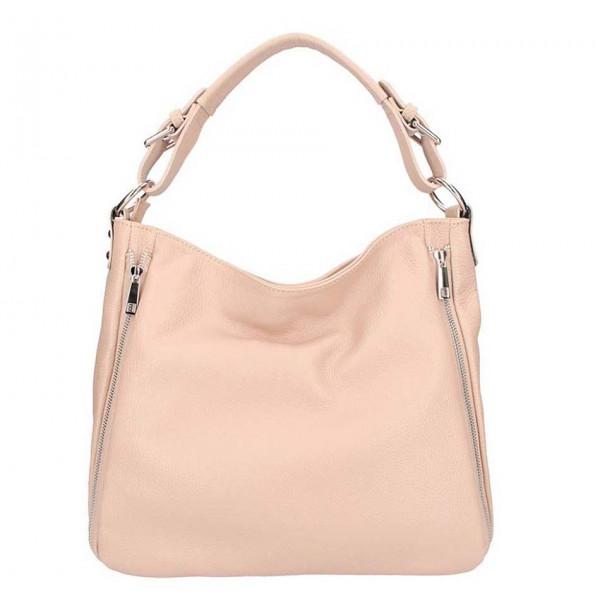 Ružová kožená kabelka na rameno 390