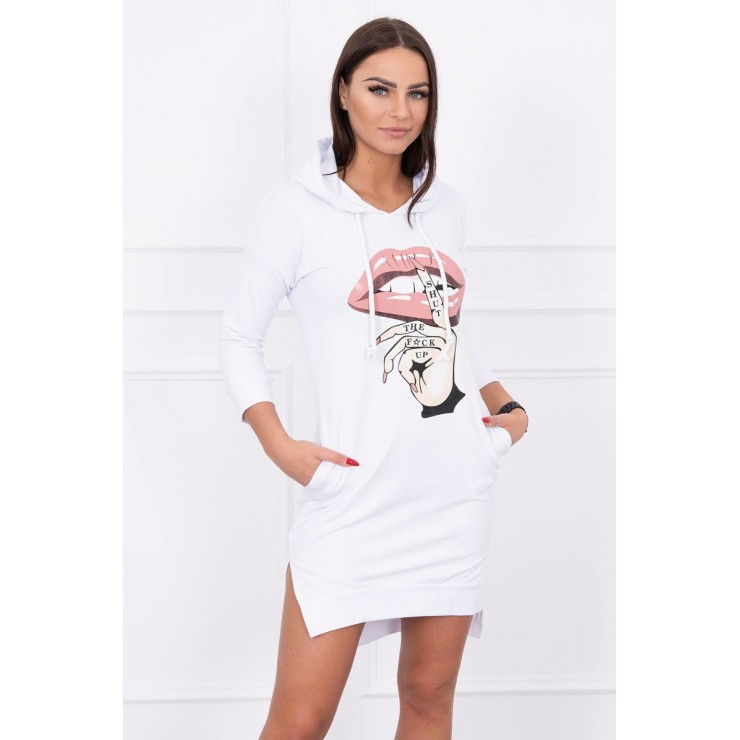 Dress with extended back and color print front MI64632 white