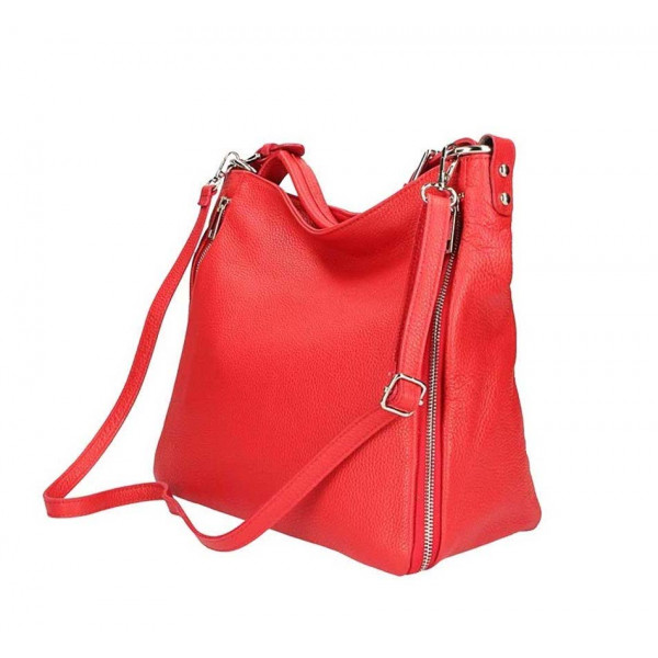 Ružová kožená kabelka na rameno 390 Ružová