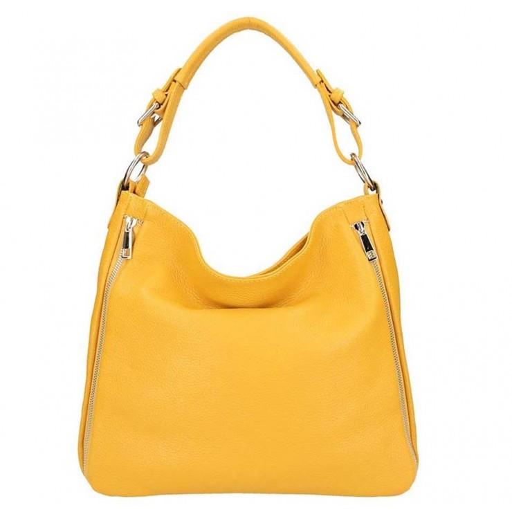 Okrová kožená kabelka na rameno 5310
